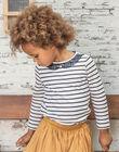 T-shirt manches longues marinière bleu marine enfant fille BROMARETTE1 / 21H2PFB1TML001