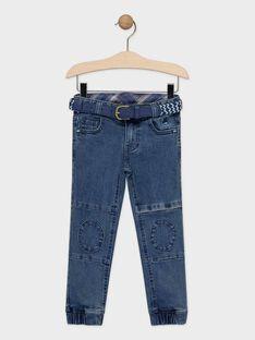 Jeans en denim bleu avec ceinture amovible garçon  TEDENAGE / 20E3PGD1JEAP274
