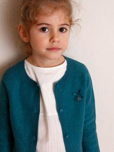 Cardigan bleu canard maille fine enfant fille ZLADETTE 4 / 21E2PFK4CAR714