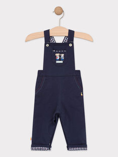 Salopette bébé garçon en molleton bleu marine  TACOLIN / 20E1BGC1SAL070