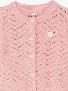 Cardigan maille manches longues rose bébé fille BAINES / 21H1BFJ2CARD314