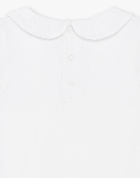 Body écru manches courtes en jersey fantaisie ZACAMELIA / 21E1BFI1BOD001