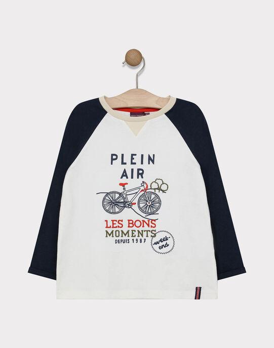 Tee-shirt à manches longues écru imprimé vélo garçon SAPOLOAGE / 19H3PG31TML000