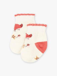 Chaussettes écrues à motifs renards bébé fille BAIVY / 21H4BFJ1SOQ001