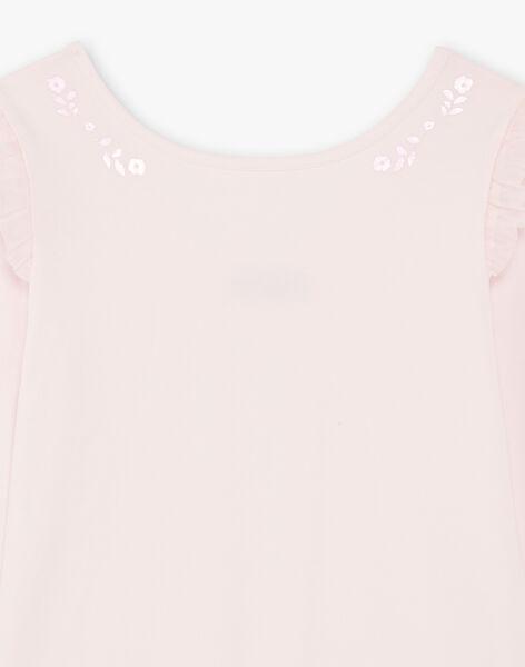 Body rose manches longues à motifs fleuris pailletés enfant fille BRODYETTE / 21H2PF31BDSD310