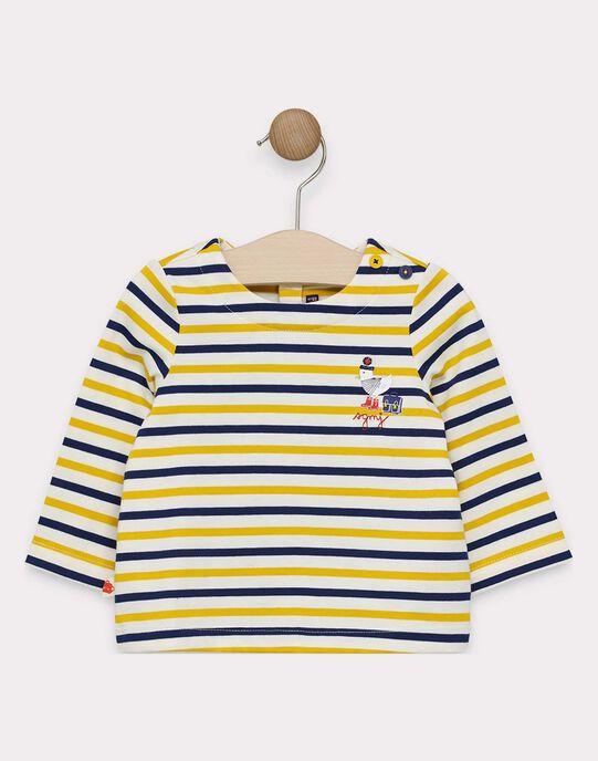 Tee-shirt manches longues bébé garçon à rayure avec animation poitrine  SAFLORIS / 19H1BG41TML109