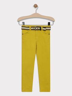 Pantalon jaune moutarde avec ceinture garçon SAZAGE / 19H3PG43PANB106