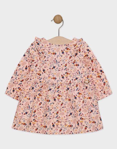 Robe rose imprimé et volantée bébé fille   SAPILOU / 19H1BFI1ROB311