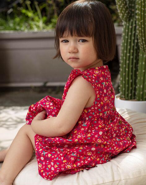 Robe rose framboise imprimée bébé fille TASOLENE / 20E1BFQ1CHSF510