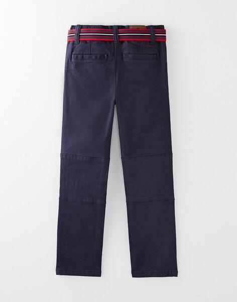 Pantalon en twill marine vendu avec sa ceinture VUCLAGE 1 / 20H3PG64PAN070