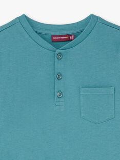 T-shirt uni bleu turquoise détail poche enfant garçon BUXOLAGE2 / 21H3PGB2TML202