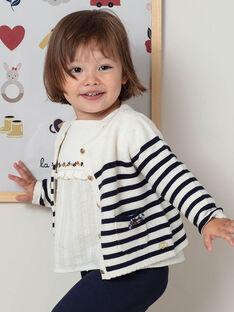 Gilet écru et bleu marine à rayures bébé fille BAELODIE / 21H1BF51CAR001