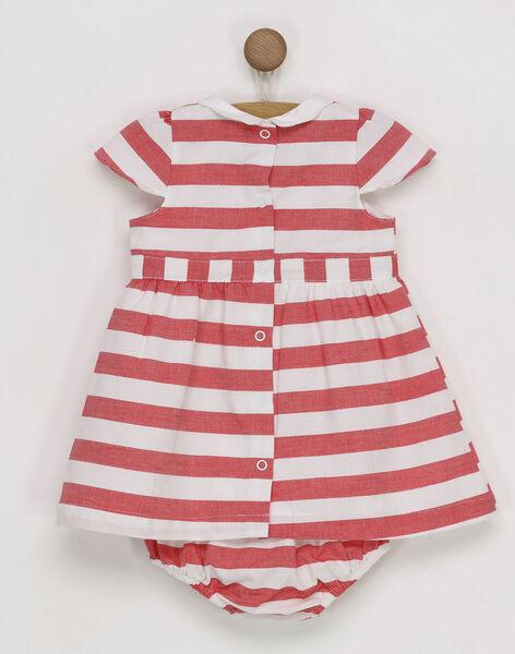 Robe rouge à rayures et bloomer bébé fille RAMADY / 19E1BFE1ROB050