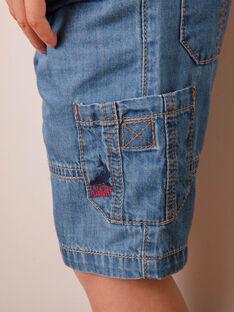 Bermuda à poches cargo en jean denim enfant garçon ZIAMAGE / 21E3PGT4BERP265