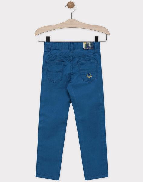 Pantalon bleu canard en chevron garçon SADENAGE / 19H3PG24PAN714