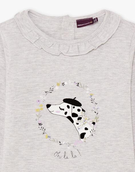 T-shirt manches longues gris chiné à motif dalmatien et fleurs enfant fille BEBLIETTE / 21H2PF21TML943