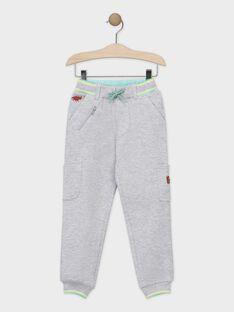 Pantalon gris chiné en molleton piqué garçon TADRISAGE / 20E3PGB3PANJ920