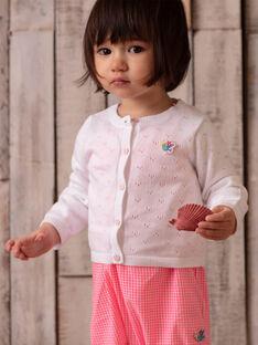 Cardigan blanc en maille ajourée bébé fille ZASOPHIE / 21E1BFU1CAR000
