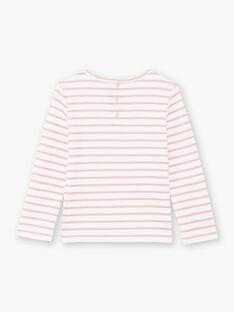 T-shirt manches longues marinière rose pâle enfant fille BROMARETTE3 / 21H2PFB5TML001
