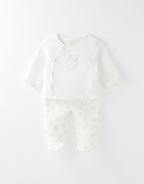 Ensemble cardigan et pantalon écru bébé mixte  VICK / 20H0NM11ENS001