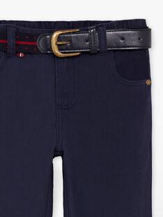 Pantalon droit bleu marine et ceinture enfant garçon  BUXIGAGE1 / 21H3PGB3PAN070