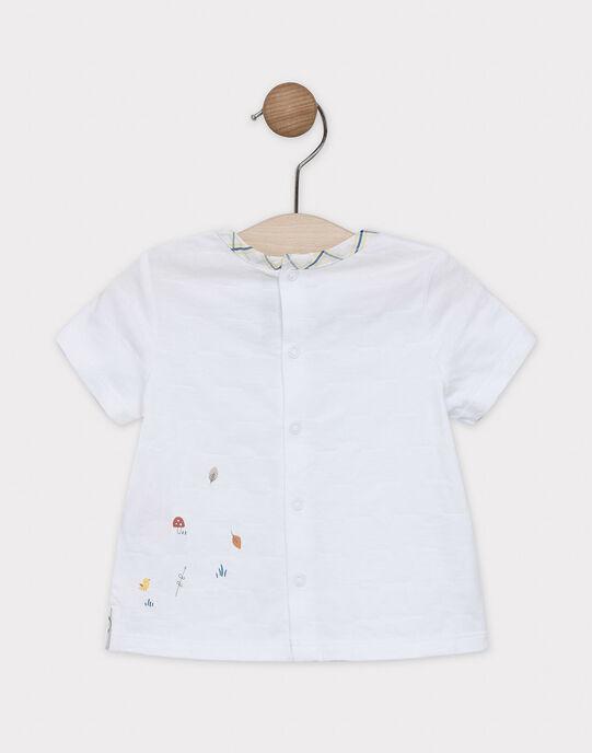 Tee-shirt manches courtes bébé garçon uni écru avec animation poitrine SABARNABE / 19H1BG21TMC001