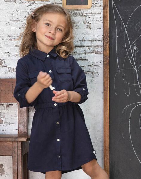 Robe saharienne bleu encre enfant fille BRORECETTE1 / 21H2PFB6ROBC214