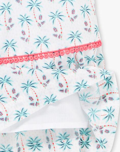 Robe blanche imprimé palmiers enfant fille ZYPALMETTE / 21E2PFU1RBS000