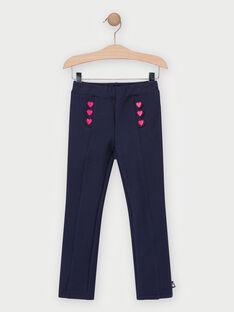 Pantalon en maille bleu marine fille TEMAETTE / 20E2PFC2PAN070