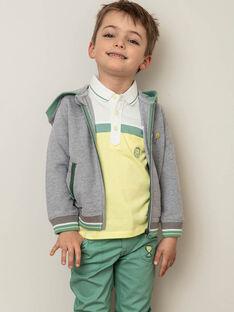 Sweatshirt gris piqué à capuche zippé détails contrastés enfant garçon ZECOULAGE / 21E3PGO1GILJ904