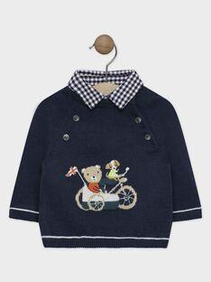 Pull bleu marine bébé garçon, à col amovible en toile de coton  SAMARCELLO / 19H1BGC1PUL705