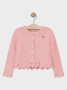 Cardigan manches longues doublé rose fille  TABETTE / 20E2PFB1CAR307