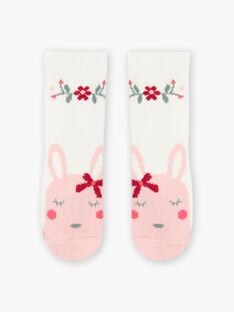 Chaussettes écrues motifs fleurs et lapin bébé fille BAGIGI / 21H4BF91SOQ001