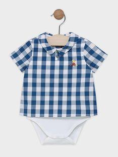 Body chemise bébé garçon écru avec chemise à carreaux bleu canard et blanc SABERNI / 19H1BG21BOD714