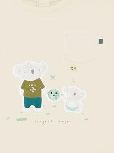 T-shirt manches courtes à rayures beige et vert ZAARMANDEX / 21E1BG71TMC009