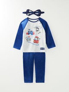 Pyjama en velours bleu petit garçon VIRAGE / 20H5PG27PYJ217
