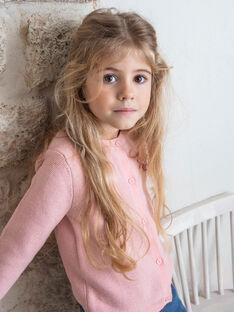 Cardigan rose clair maille fine enfant fille ZLADETTE1 / 21E2PFK1CAR413