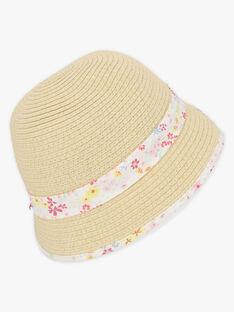 Chapeau de paille à ruban imprimé enfant fille TYCIETTE / 20E4PFJ1CHA009