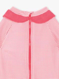 Combinaison de bain rose fluo à carreaux bébé fille ZISIRENE / 21E4BFR1CBBD311