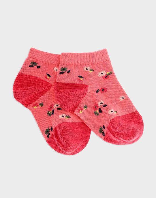 Chaussettes basses imprimé fleuri rose fille SAPALETTE / 19H4PF31SOB305