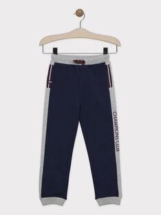 Pantalon de jogging bleu et gris chiné en molleton gratté garçon SABIAGE-1 / 19H3PGD2JGB219