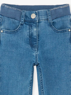 Jean bleu moyen à taille élastiquée enfant fille ZLEVETTE 1 / 21E2PFK1JEAP274