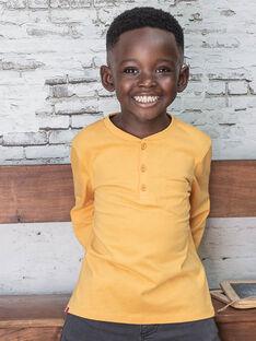 T-shirt uni jaune détail poche enfant garçon BUXOLAGE1 / 21H3PGB3TML113