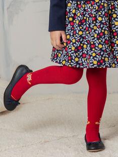 Collant uni rouge motif renard enfant fille BIZOUETTE / 21H4PF51COL050