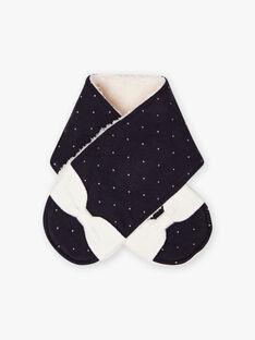 Echarpe bleu marine à pois détails nœuds bébé fille BISOPHIA / 21H4BFE1ECH070