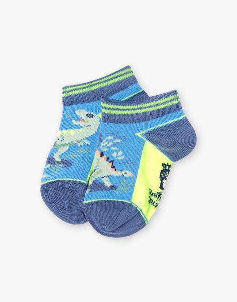Socquettes bicolores motifs dinosaure enfant garçon TUVROUAGE / 20E4PGX1SOBC232