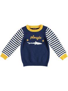 Pull en tricot bleu avec manches rayées garçon  TEAGE / 20E3PGD1PULC203