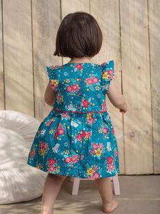 Robe et bloomer bleu canard imprimé fleurs et koalas bébé fille TAVANILLE / 20E1BFX1CHS210