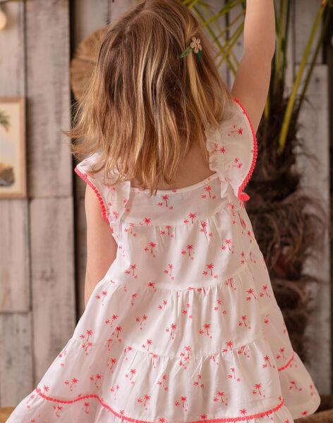 Robe blanche brodée imprimé palmiers enfant fille ZYPANETTE / 21E2PFU2ROB000