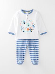 Pyjama en velours écru bébé garçon VELEON / 20H5BG22PYJ000